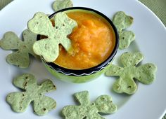 Shamrock Chips with Pot O'Gold Dip