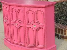 pink furniture - old console stereo repurposed into gorgeous pink storage chest!