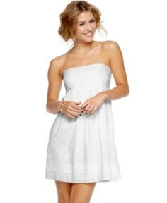 Jessica Simpson Dress, Strapless Pleated Embroidered Baby Doll - Juniors Dresses - Macy's