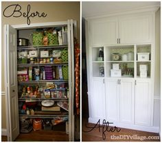 DIY Custom Pantry Makeover - love the idea of cabinets instead of a huge closet