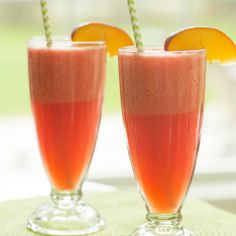 Watermelon-Peach Slushies | Brown Eyed Baker