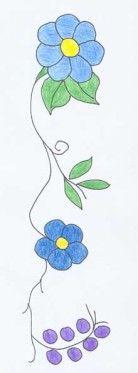 Blue flowers Oijbwe pattern