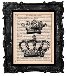 Crown print on an antique book page by BlackBaroque on Etsy.