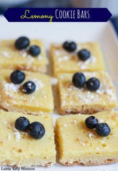 Lemony Cookie Bars made with #GreekYogurt ~ Lauren Kelly Nutriiton from The Greek Yogurt Cookbook