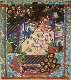 """""""Butterfly Dance"""" is a Japanese art quilt made with Asian fabrics.  See more Asian quilt fabrics like this at: http://www.debsews2.com/"""