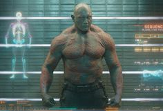 WWE wrestler-turned-actor, Dave Bautista, stars as the intergalactic badass Drax the Destroyer in Marvel's Guardians of the Galaxy. #InkedMagazine #movie #GuardiansOfTheGalaxy #tattoos #tattoo #inked #ink #Drax