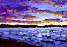 Sunset on Puget Sound Painting at ArtistRising.com by patty baker