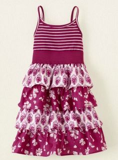 For summertime, deck out your little girl in this printed tiered dress