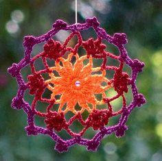 Crochet mandala, dreamcatcher, crochet doily, lace mandala, flower beaded red violet orange
