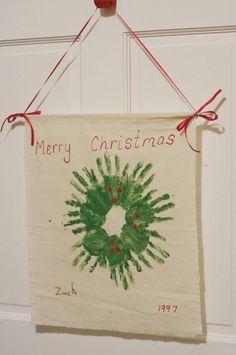 So cute...Handprint Christmas Wreath