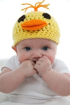 Adorable Unique Crocheted Duck Hat for Baby