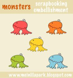 free monster scrapbooking embellishment  – CUTE for kids ♡ – | MeinLilaPark