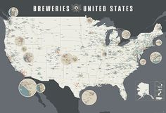 A Giant Redesigned Wall Map Featuring Over 1,400 Breweries Across the United States by Pop Chart Lab