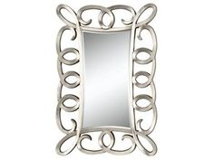 "Velletri floor mirror merges modern style with an elaborate scroll design in this metallic silver-framed mirror. Width: 40"" Height: 58"" Depth: 1.5"""