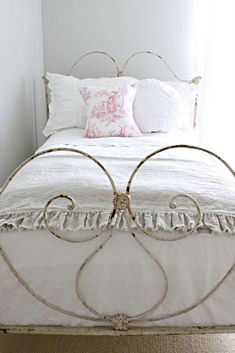 pretty vintage iron bedstead fresh for Spring