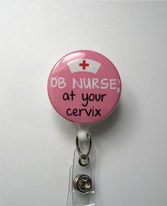OB Nurse -- Pink - Retractable ID Badge Holder - Nurse,Doctor Office,Hospital,OB Nurse