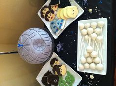 Death star cake  Lego Star Wars cookies Ice planet Hoth vanilla cake pops