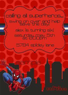 Spiderman Birthday Invitation Etsy.