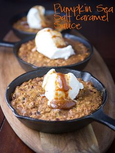 pumpkin oatmeal cookies, & pumpkin sea salt caramel sauce mmmm yum !Made in the skookie pan