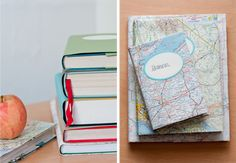 care cover, cover books, maps, paper, diy guid, book covers, design, book projects, old books