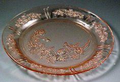 pattern, depress glasspink, plate, cabbag rose, bows, antiqu, bowls, cherry blossoms, pink depress