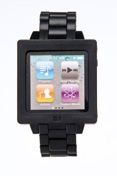 Stylish watch band for the iPod Nano. Great for runners.  Please follow us @ http://www.pinterest.com/jeniferkane01/
