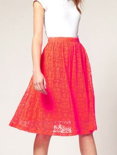 Neon lace skirt from ASOS