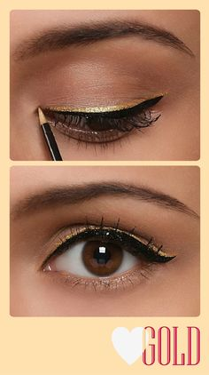 Gold layered over black winged eyeliner. Definitely not for everyday but might be worth a try for a formal occasion... makeup eyeliner, makeup ideas, black and gold eyeliner, eye liner, gold eyeliner makeup, diy winged eyeliner, formal winged eyeliner, cute winged eyeliner, prom makeup