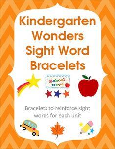 Kindergarten Wonders Sight Word Bracelets $