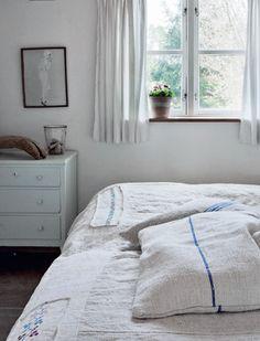 coastal cottage, grainsack, cottages, bed linens, farmhouse style, blues, bedroom, summer cottag, curtain