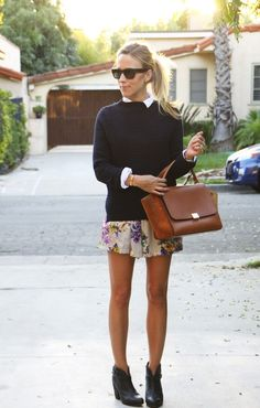 short, sweater, bag, street styles, mini skirts, street style fashion, style guides, spring outfits, floral