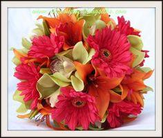 Flowers, Pink, Bouquet, Green, Orange, Wedding, Dark