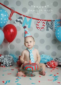 Red, Grey, Blue Chevron Diaper cover, tie, banner, and birthday hat set. Birthday outfit. 1st birthday, boy