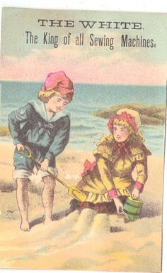 Vintage Victorian Trade Card Girl at Beach White Sewing Machine