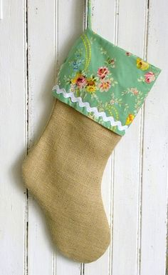 Burlap and fabric stocking - so cute. not for an actual stocking but for decoration!!
