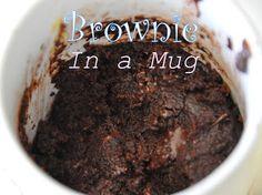 microwav browni, chocolatey browni, mugs