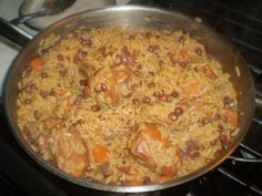 Pelau (or Cook Up)....popular one pot Caribbean dish. Start with browning and carmelizing seasoned meat (chicken, beef) and adding rice, veggies and more seasoning cooked together.  Some add browning to the pot.