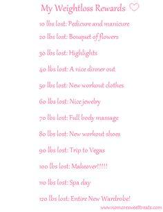 My weight loss rewards list