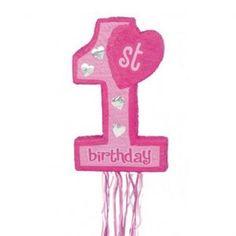 Pinata: Pink 1st Birthday Shape Pinata
