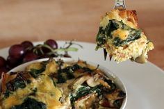 Bacon Cheddar and Veggie Strata (with candied bacon)