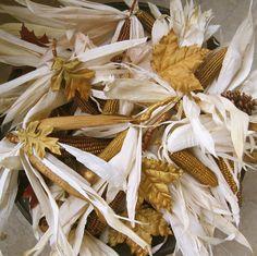 Metallic glazed leaves and mini Indian Corn