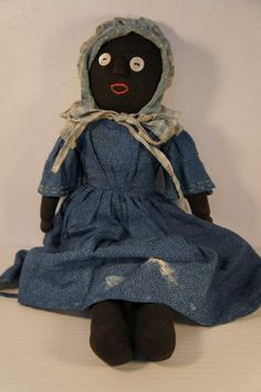 Antique Black Cloth Doll With Wooden Nose...So Sweet!, Country & Shaker Antiques, Harvard, MA