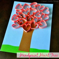 Handprint (tree trunk) Heart Tree Craft for Kids for Valentine's Day