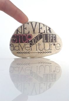Hand Scripted River StoneBlack Typography Painted by FizzFinds, $22.00