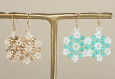 Make bead earrings that shimmer and sparkle like freshly fallen snow with this pattern for Beautiful Beaded Snowflake Earrings. This is one of those beaded earrings patterns that is a simple design with a stunning result.