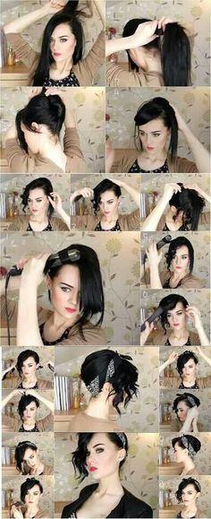 Wish I could wear my hair up :(  So pretty!!!   Bandana hair tutorial♥Love the black hair, fair skin & make up!
