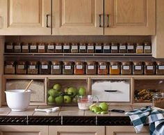 Under counter spice storage from Better Homes and Gardens http://www.bystephanielynn.com/2012/04/30-diy-storage-solutions-to-keep.html?m=1