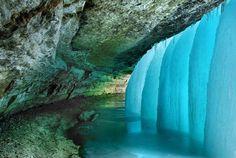 frozen waterfall. Minnehaha Falls, Minnesota