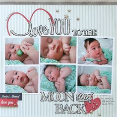 "Precious ""Love you to the Moon and Back"" layout made using the Front Porch Collection by Pebbles   - Scrapbook.com"