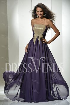 Elegant A-Line Strapless Floor-Length Evening Dress.